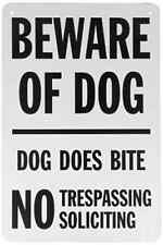 "SmartSign Aluminum Sign, Legend ""Beware of Dog - Dog Does Bite No Trespassing"","