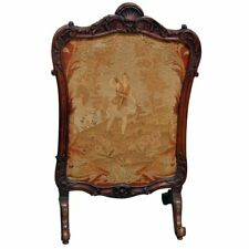 Gorgeous French Carved Louis XVI Walnut Needlepoint Fireplace Screen C1890s