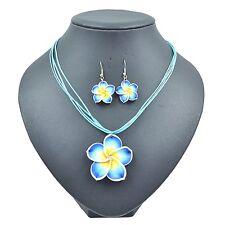 Blue Beautiful Flower  Lovely Girl&Lady Hawaiian Necklace Earrings Jewelry Set