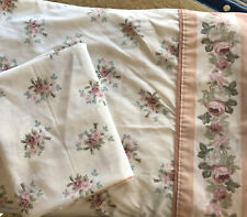 VINTAGE LAURA ASHLEY PAIR 2 KING PILLOWCASES COUNTRY ROSE PINK & WHITE ROSE TOP