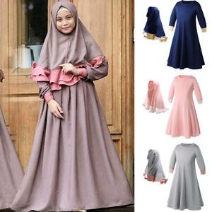 Muslim Kids Girls Prayer Burka Hijab Long Dress Islamic Abaya Kaftan Jilbab Gown