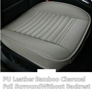 Full Surround Front Car Seat Cushion Protector Pad Cover Leather Bamboo Charcoal