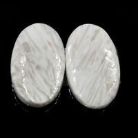 Cts. 22.35 Natural Match Pair Scolecite ( 25 X 15 MM) Cabochon Oval Gemstone