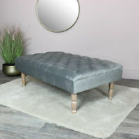 Grey Velvet Upholstered Bench seating vintage decor bedroom living room luxury