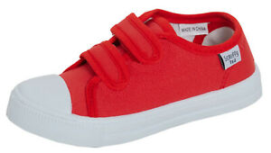 Kids Red Canvas Shoes Boys Girls Plimsoll Trainers Unisex Easy Fasten Pumps Size