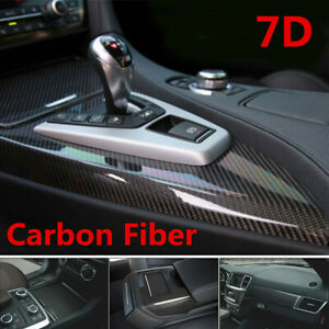7D Stickers Glossy Carbon Fiber Vinyl Film Car Interior Wrap Auto Accessories