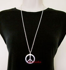 FANCY DRESS SILVER TONE PEACE SIGN HIPPY 1960s NECKLACE ACCESSORIES JEWELLERY(!)