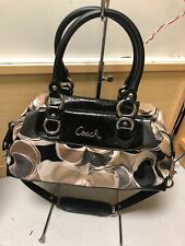 Coach Ashley Multicolor Sateen  Satchel Shoulder Bag Black Patent Leather F17650