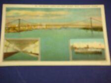 Bridge Tunnel & Ferry Detroit MI to Windsor Canada Vintage Colorful Postcard PC6