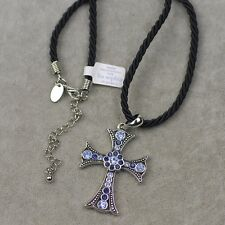 Lia sophia signed jewelry Blue cut crystal cross pendant necklace nylon chain