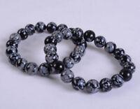 Fashion 8mm Black Snowflake Obsidian Round Gemstone Beads Elastic Bracelet 7.5''