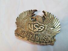 Vintage Belt Buckle USA HARLEY DAVIDSON Eagle Wings Brass 1980 Baron