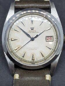 50s Rolex pre-Datejust Big Bubbleback Ovettone Stainless Steel Ref. 6105
