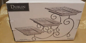 Shannon Crystal Dublin Collection Three Tiered Rectangle Server New-open box