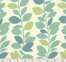 PK Lifestyles Leaf Garland Spa Green Blue Floral Print Home Decor Fabric BTY