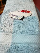 CUSTOM EMBROIDERED VINTAGE 1964 WHITE MUSTANG CAR  HAND  TOWEL SET