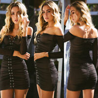 Fashion Women Bodycon Casual Long Sleeve Evening Party Cocktail Short Mini Dress