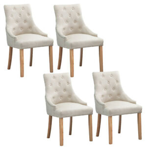 Beige Fabric Dining Room Chairs