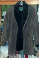 Suede coat, fur lined, size large, mid thigh length