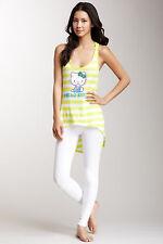 NWT Cute Yellow & White Stripe HELLO KITTY Racerback Hi-Lo Tunic Tank S
