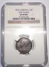 GREAT BRITAIN UK COIN  FARTHING   1853 WW RAISED  NGC XF40BN