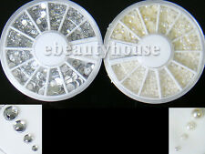 4 sizes Nail Art Decoration Pearl and Silver Rhinestones Wheel Nail Art Set #56D