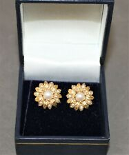 Pretty 9ct Yellow Gold and Pearl Vintage Stud Earrings   - Thames Hospice