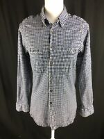 Sulka Womens Wool Blend Button Blouse Size S/M (msrd) Blue Gingham Long Sleeve