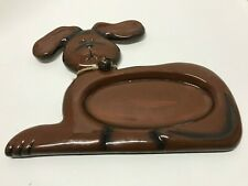 PET PLATE Treat Snack Food Dog Puppy Shape Jingle Bell Brown Ceramic Bowl NEW