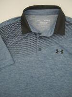 Mens Medium Under Armour Playoff Polo heather blue gray golf athletic shirt