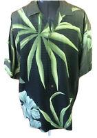 Tommy  Bahama Mens Medium Black Gray Green Palms Button Front Silk Camp Shirt