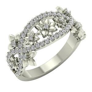 Designer Anniversary Ring I1 G 0.70 Ct Natural Diamond 14K White Gold 11.20 MM