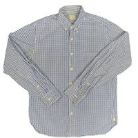 J. Crew Dress Shirt Blue Checked Long Sleeve Spread Collar Cotton M 15.5 Pocket