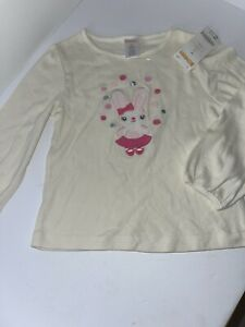 Gymboree Girl's Top, NWT, Size 4T, White, Bunny, Long Sleeve, Soft, Comfort