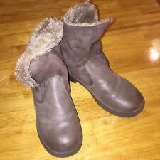 RAMPAGE GIRLS taupe/gray fur lined short boots, SIZE 1, GUC