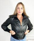 South Black Leather Roll Neck Bomber Jacket Size 10