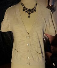 MOSSIMO SS Button Down w/ Pockets Cotton Tan Beige Lightweight Sweater size M