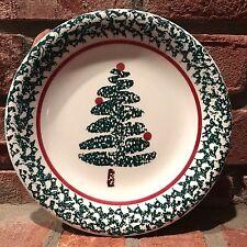 FURIO Christmas Tree Dessert Salad Plate Holiday Spongeware Green & White Italy