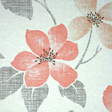 Retro FLOWERS ORIGINAL RED Vintage Wallpaper 1950s 1960s