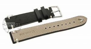 Watchbands V-Band Pin Buckle Extra Strong, Leather, Smooth Black 20mm22mm18mm