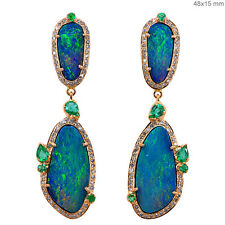Diamond Pave Opal Emerald Gemstone Fashion Dangle Earrings 18k Solid Yellow Gold