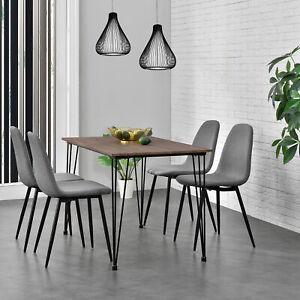 [en.casa]® Esstisch mit 4 Stühlen grau 120x70cm Küchentisch Esszimmertisch MDF