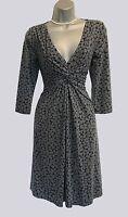 Phase Eight Black Grey Mosaic Print V Neck 3/4 Sleeve Flare Casual Dress size 10