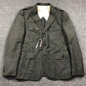 NEW Zara Man Size 44 Gray Military Style Blazer Sport Coat Jacket Epaulets Mens