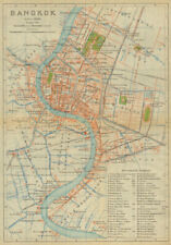 Bangkok antique town city plan. Thailand 1920 old map chart