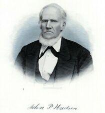 JOHN P HUDSON ST GEORGE'S DELAWARE 1880s Portrait Steel Engraving Art Print
