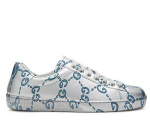 Gucci Ace Men's Metallic Silver Crystal Fabric Sneaker EU 8.5G/US 9 548938 1905