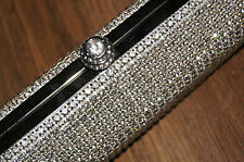 Love Forever silver crystal hand evening clutch bag