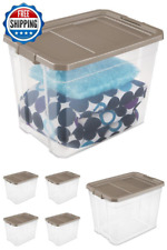 Storage Box Plastic Stacking 108 Quart Container Organizer Lid Heavy Duty 4-Pack