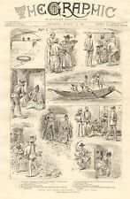 British, With The China Squadron, The Lost Cord, Vintage 1887 Antique Print